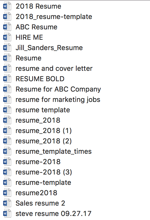 job application mistake: not correctly naming your resume file