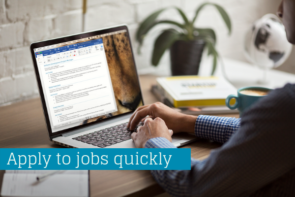 Master Resume allows you to apply to jobs quickly