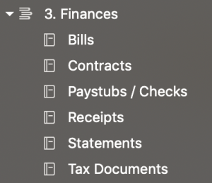 Financial documents notebooks sorted by type in Evernote