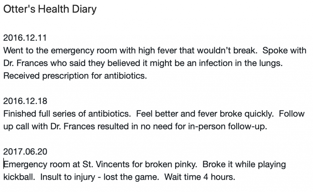 Health Diary Example in Evernote