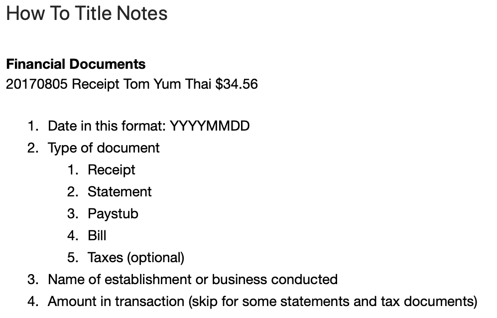 Screenshot of how to title Evernote notes