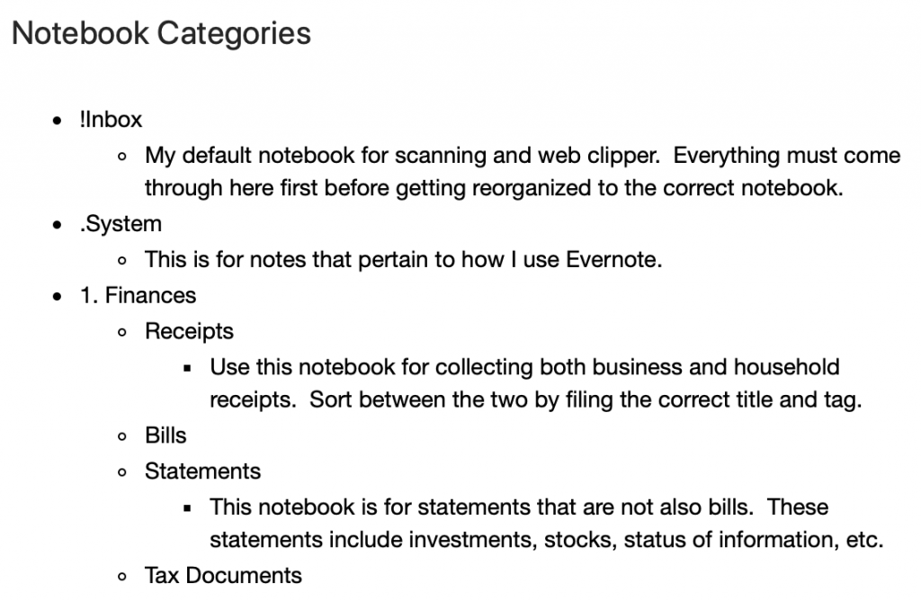 Example of Notebook Categories Note to sort Evernote Notebooks