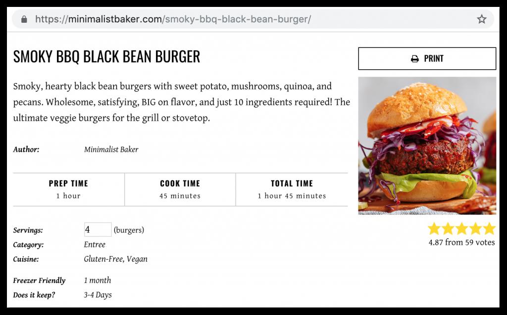 Online recipe blog example