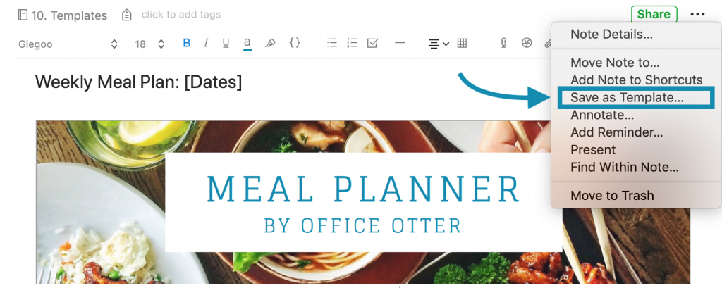 Office Otter Meal Planner Template for Evernote Instructions to save Template