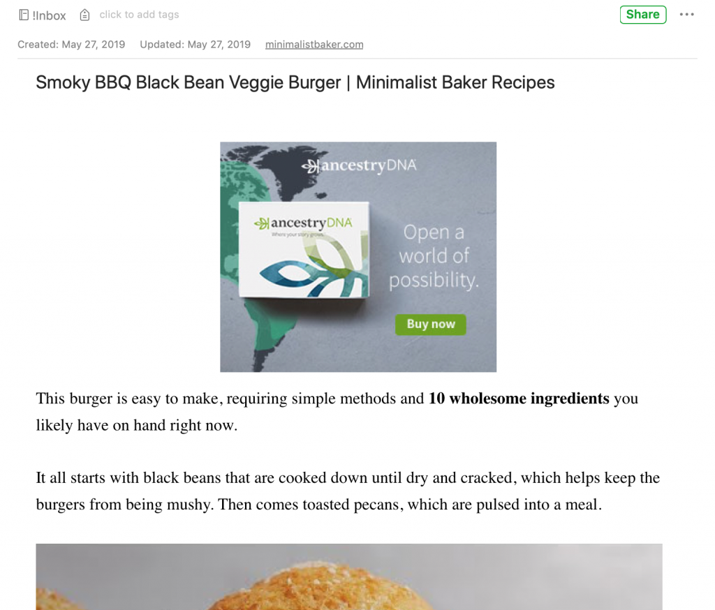 Clipped recipe article with banner ads