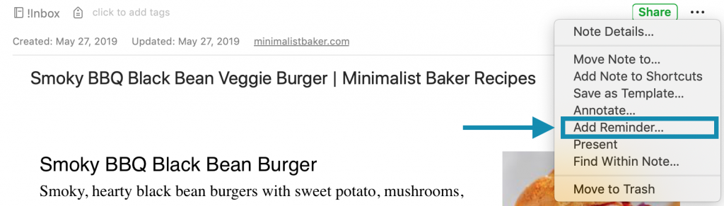 Add a reminder to Evernote note to help organize recipes.