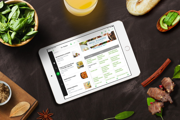 meal planner on ipad in evernote