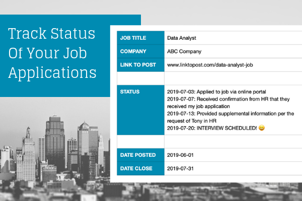 update status of job application in evernote