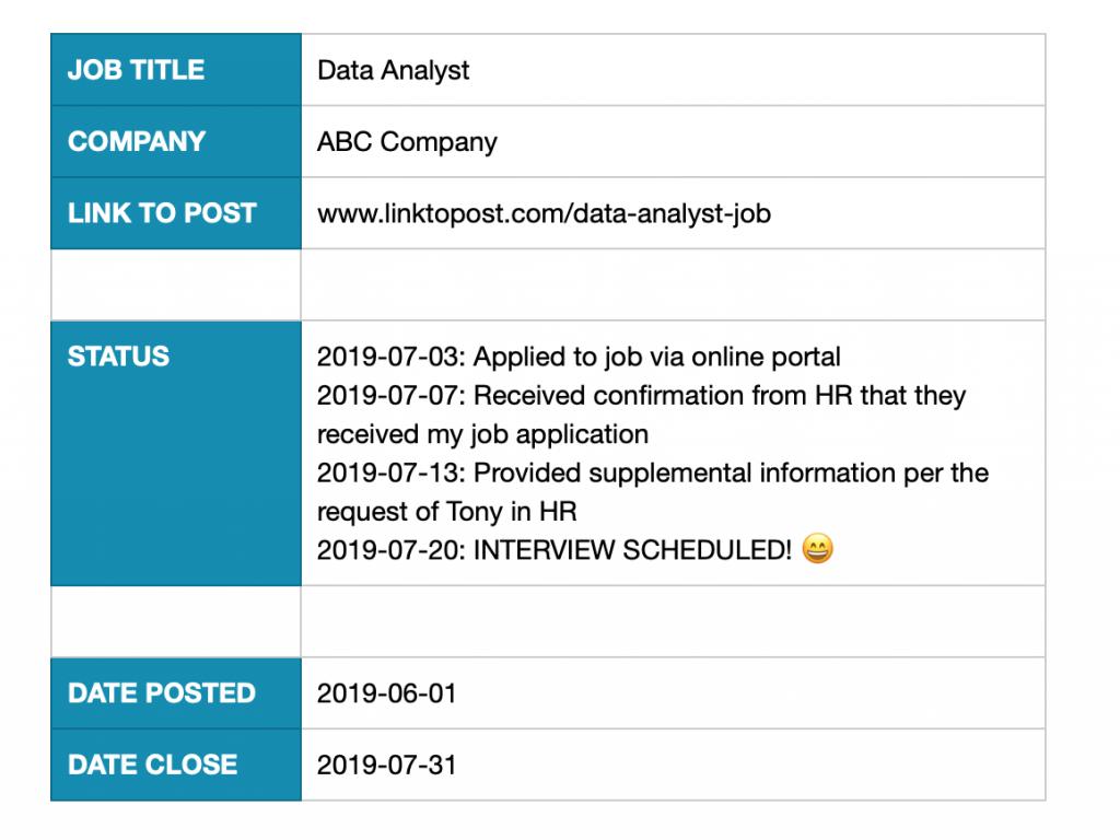 status update in job tracker template