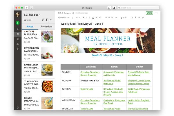 Meal Planner Screenshot on Web