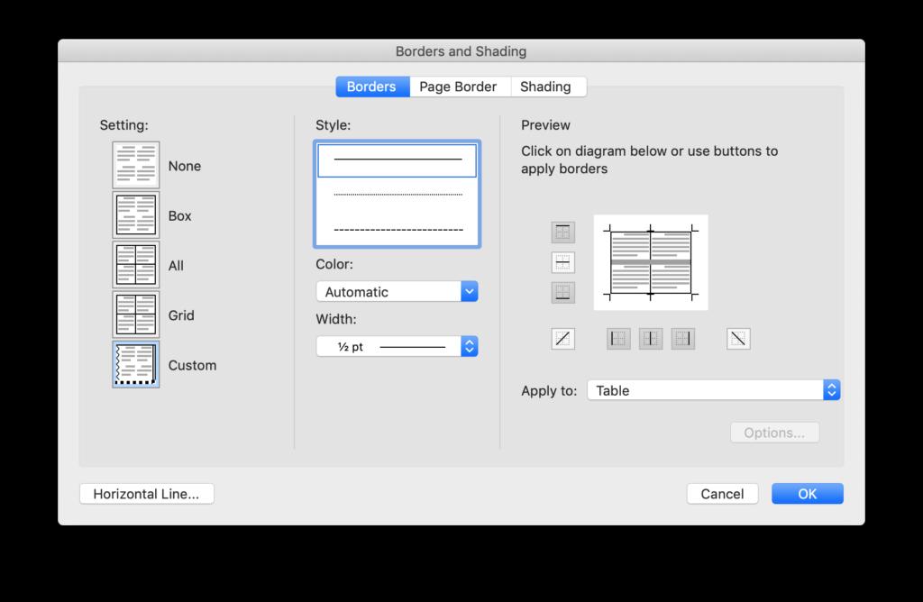 Borders and Shading window in Microsoft Word.